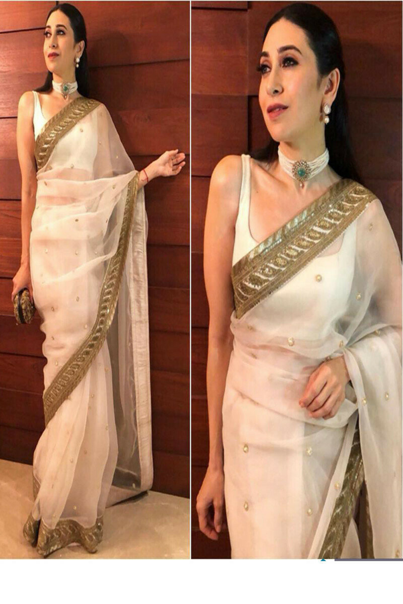 Bollywood White Color Karishma Kapoor Saree