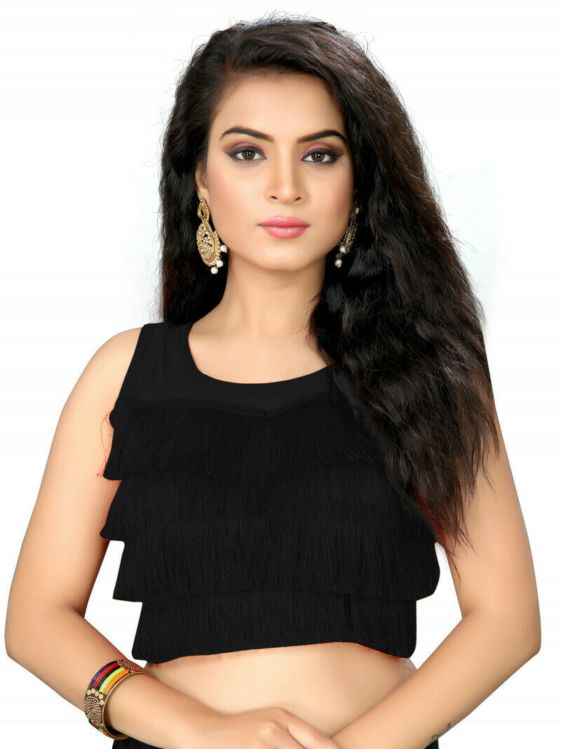 Breathtaking Black Color Silk Embroidery Solid Ruffle Saree Blouse