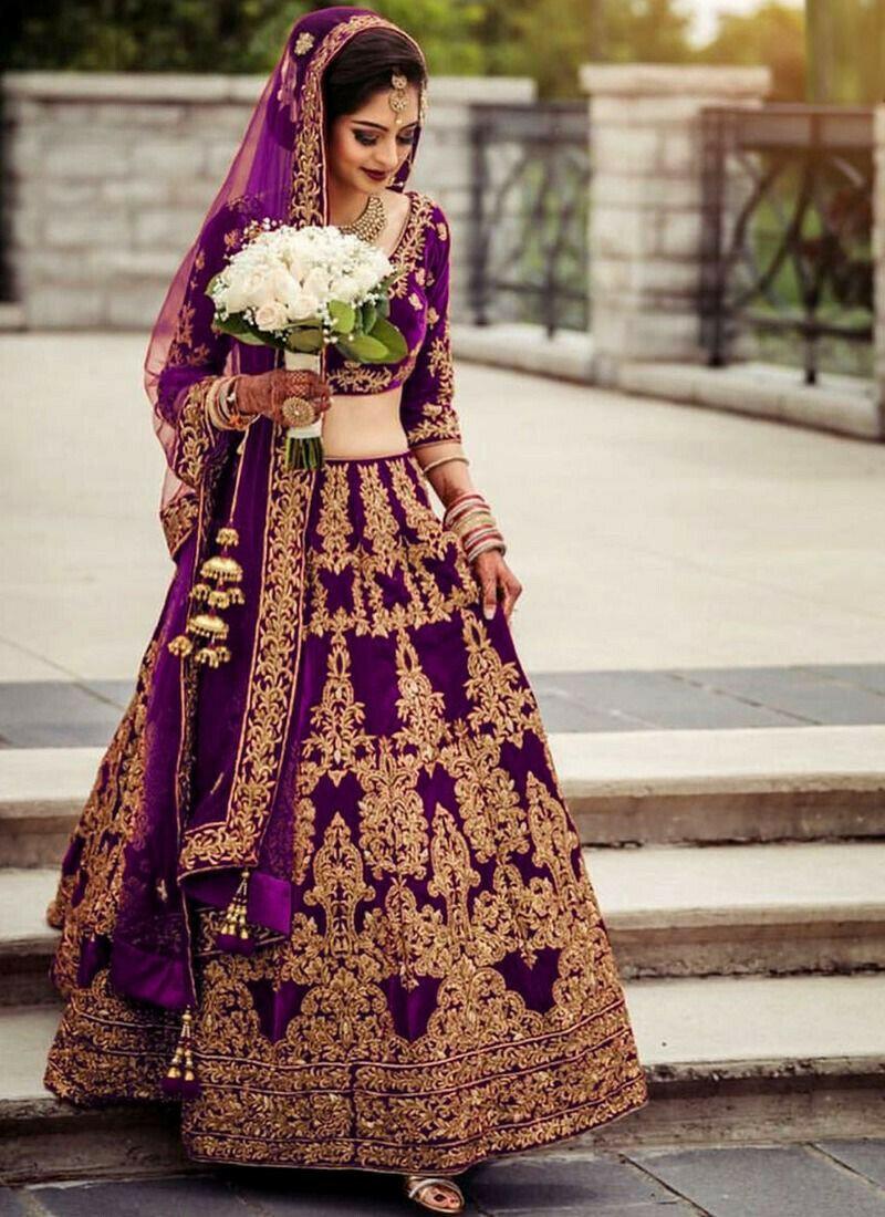 Bridal Magenta Pure Velvet Diamond Work Lehenga Choli With Mono Net Dupatta