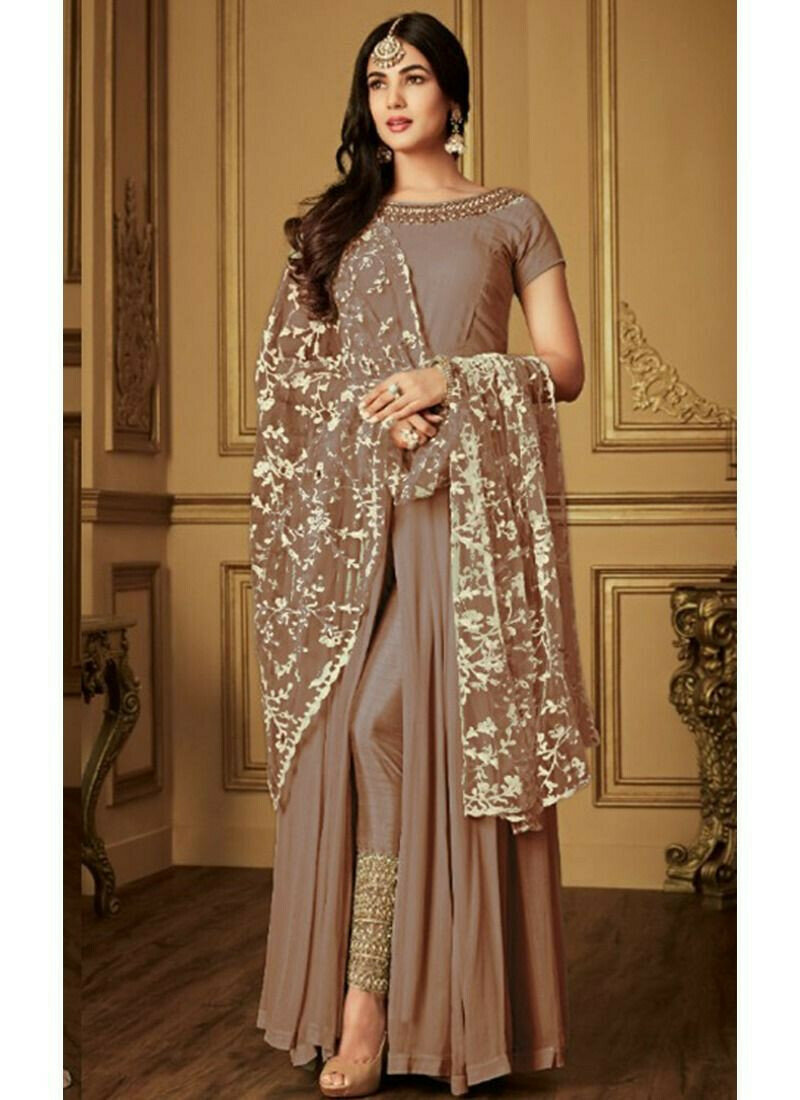 Brown Georgette Indian Designer Salwar Suit