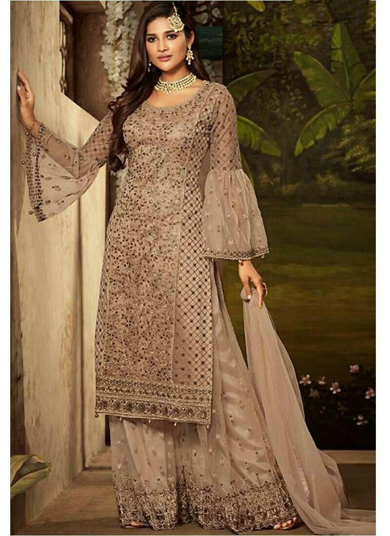 Brown Heavy Net Indian Designer Salwar Suit