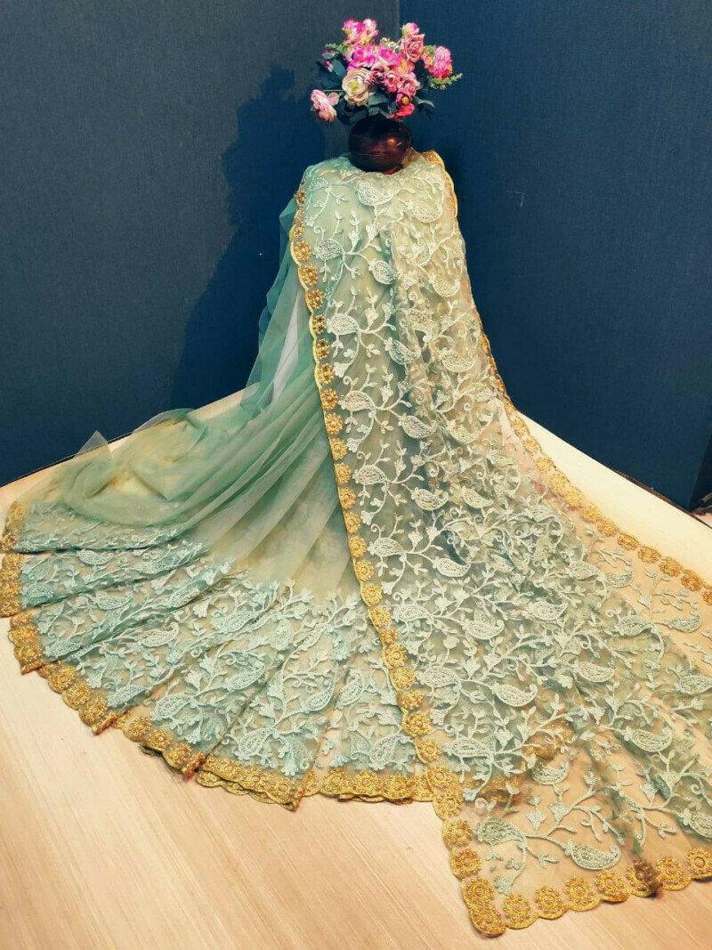 Captivating Pista Green Net With Golden Zari Hand Work fancy designer saree