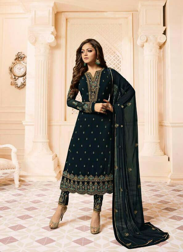 Casual Black Faux Georgette Straight Dress