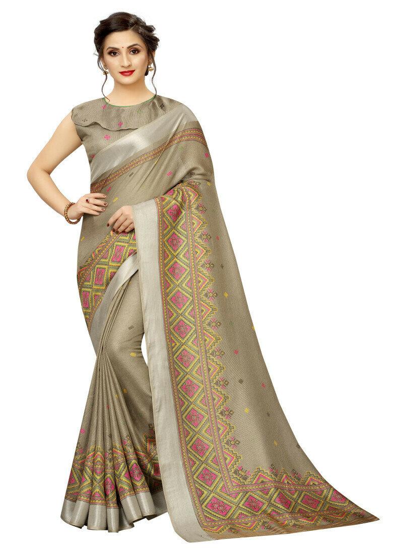Casual Wear Brown Color Cotton Saree