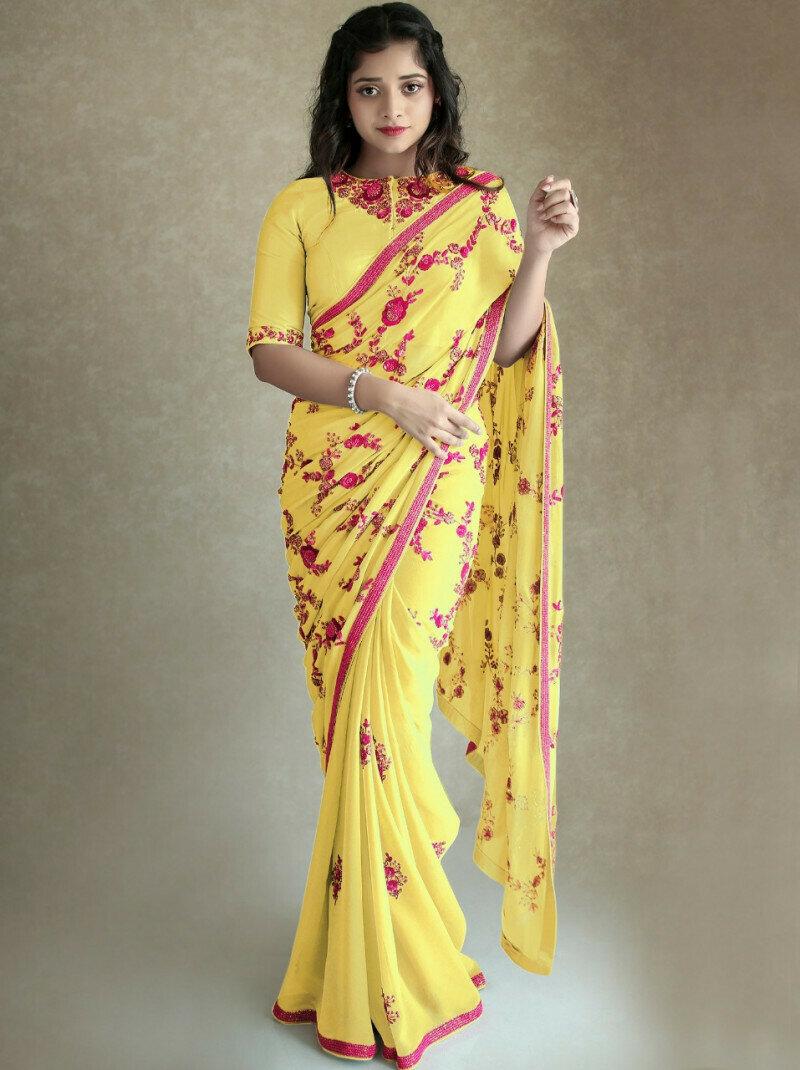 Casual Wear Yellow Saree