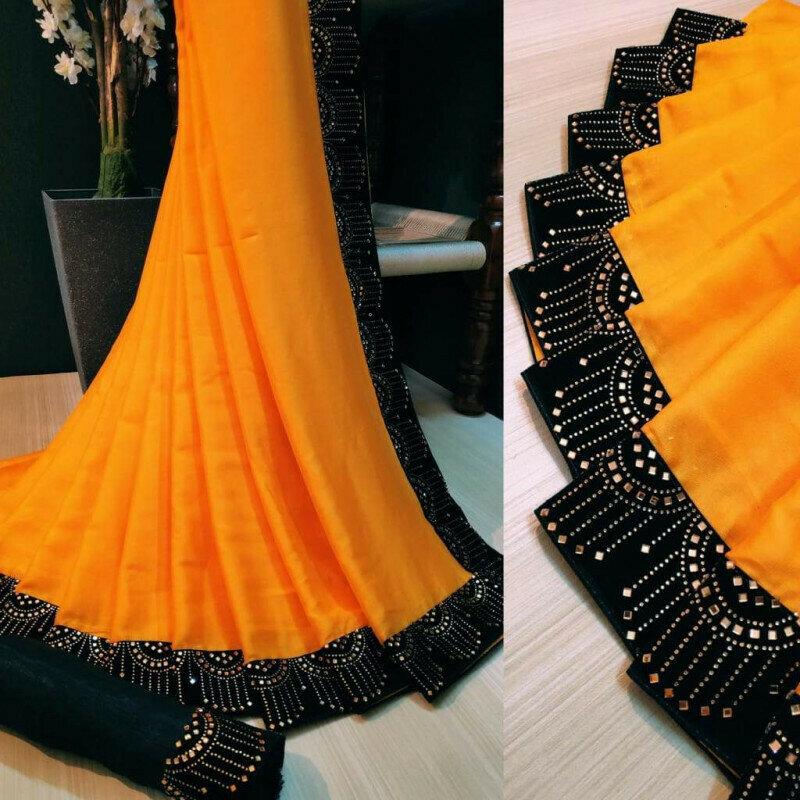 Charming Mustard Silk With Velvet Stone Work Border fancy designer saree