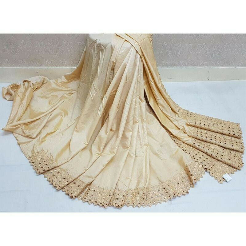 Chiku Reniya Cutwork Makhan Malai Silk Wedding Designer Saree