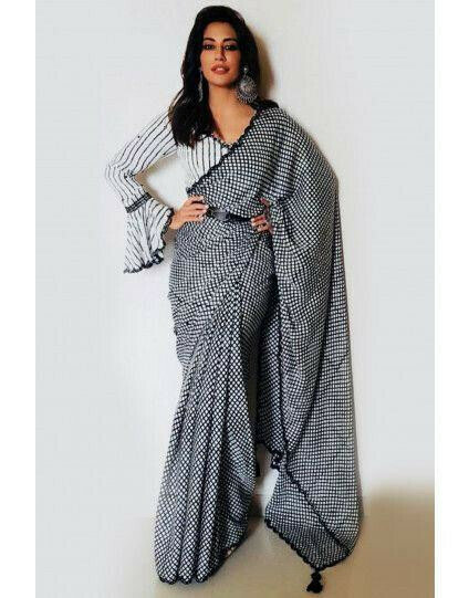 Chitrangada Singh Bollywood Sabhaysachi fancy grey printed Saree