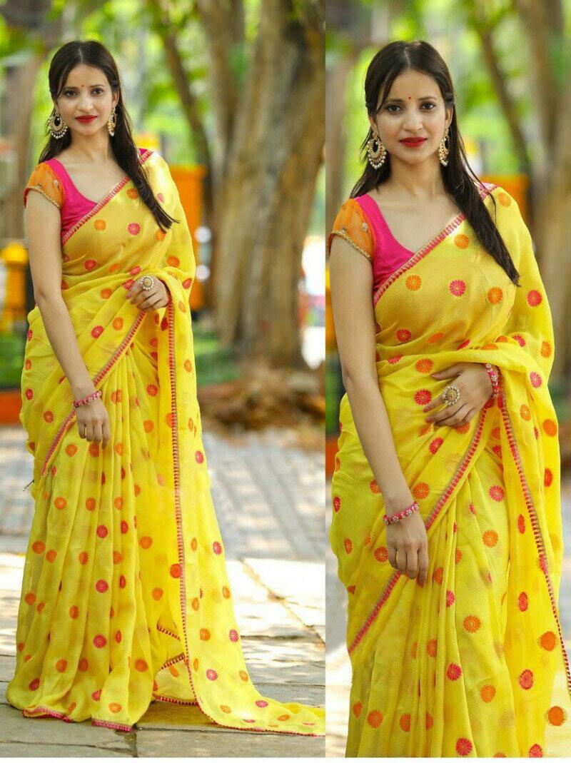 Classic Georget Fancy Multi & Sequance Work Desiner Saree (Yellow)