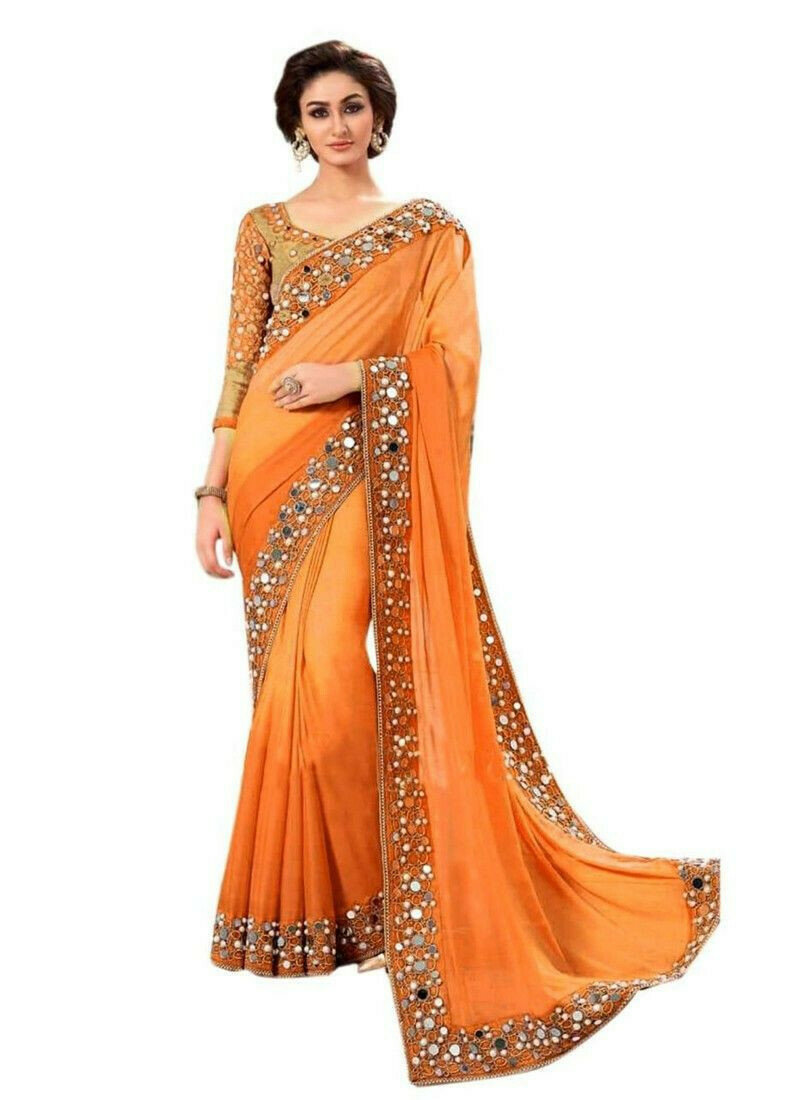 Classic Orange Embroidered Designer Saree