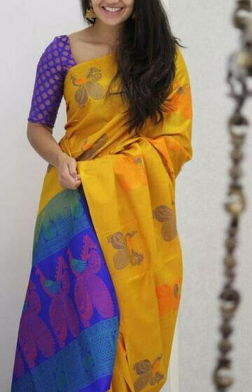 Classy Yellow Color Soft Silk Designer Sarees
