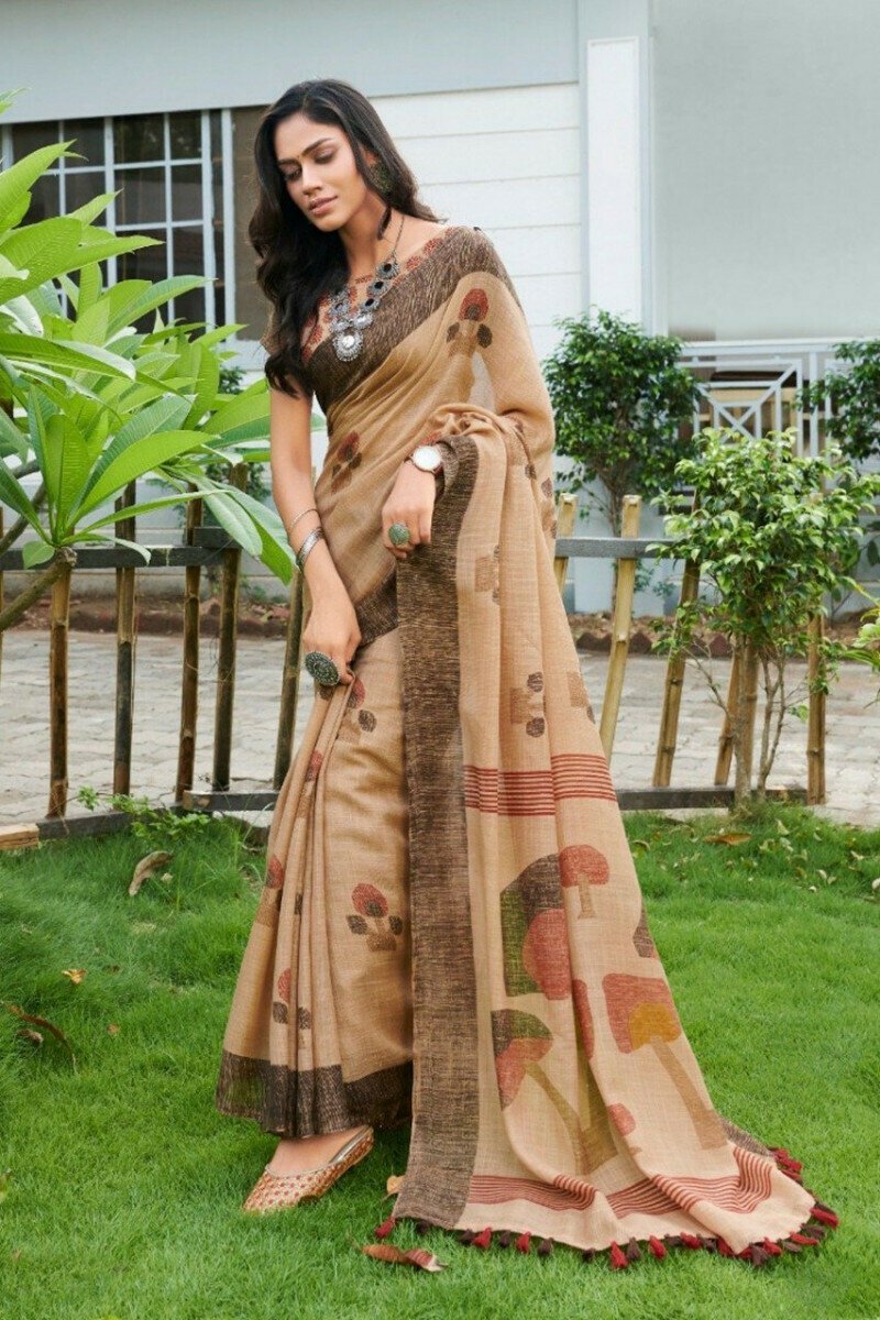 Coffee Colored Party Wear Linen Latest Printed Saree With Blouse For Women