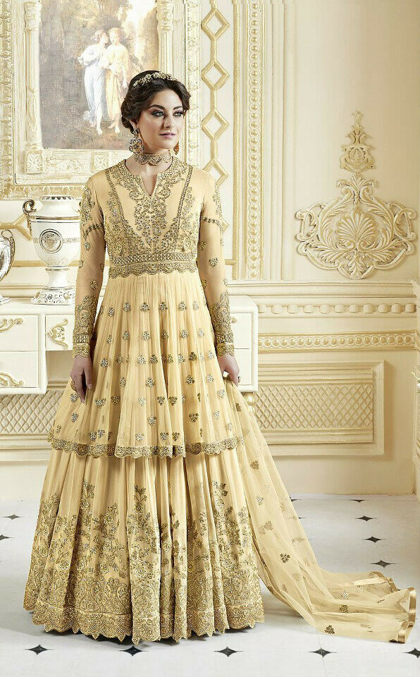 Cream Color Party Wear Lehenga Top Design