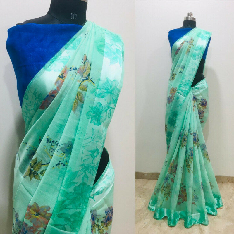 Daily Wear Green Floral �Printed Saree