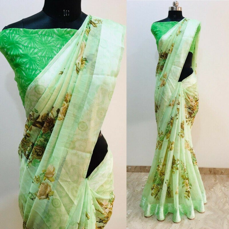 Daily Wear Light Green Floral Printed Saree For Woman