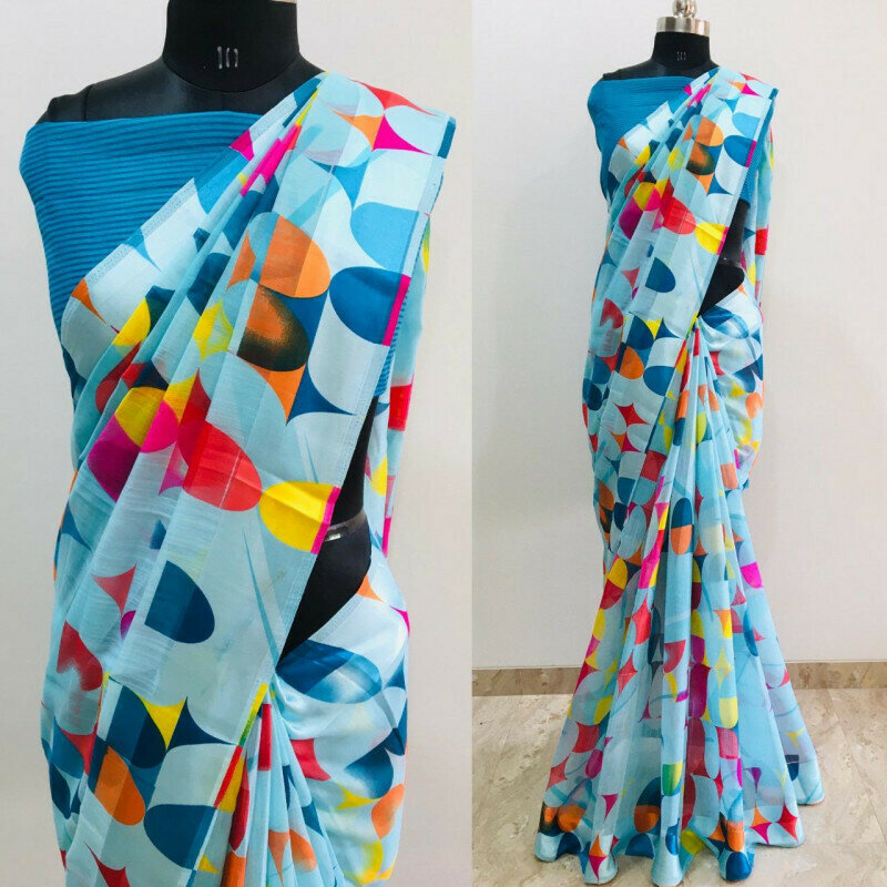 Daily Wear Sky Blue Printed Saree Online