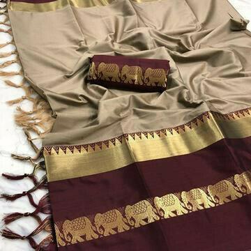 Dapper brown Color Designer Cotton Silk Saree