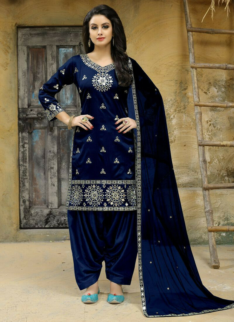 Dark Blue Tafeta Silk Designer Aanaya Latest Style Punjabi Suit