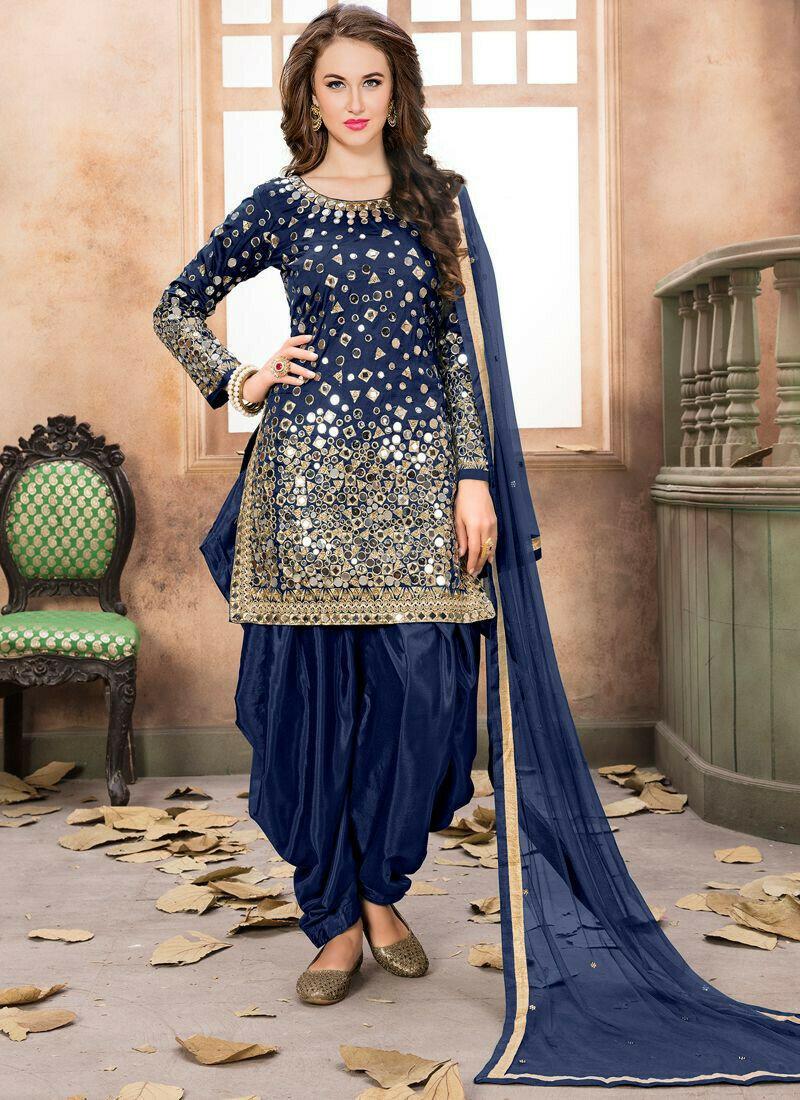 Dark Blue Taffeta Silk Aanaya Festival Designer Salwar Suit