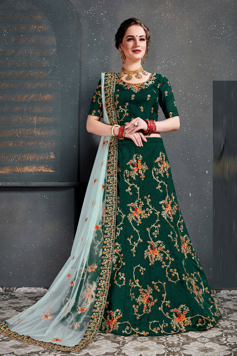 Dark Green Color Sequins Work Weeding Wear Lehenga Choli