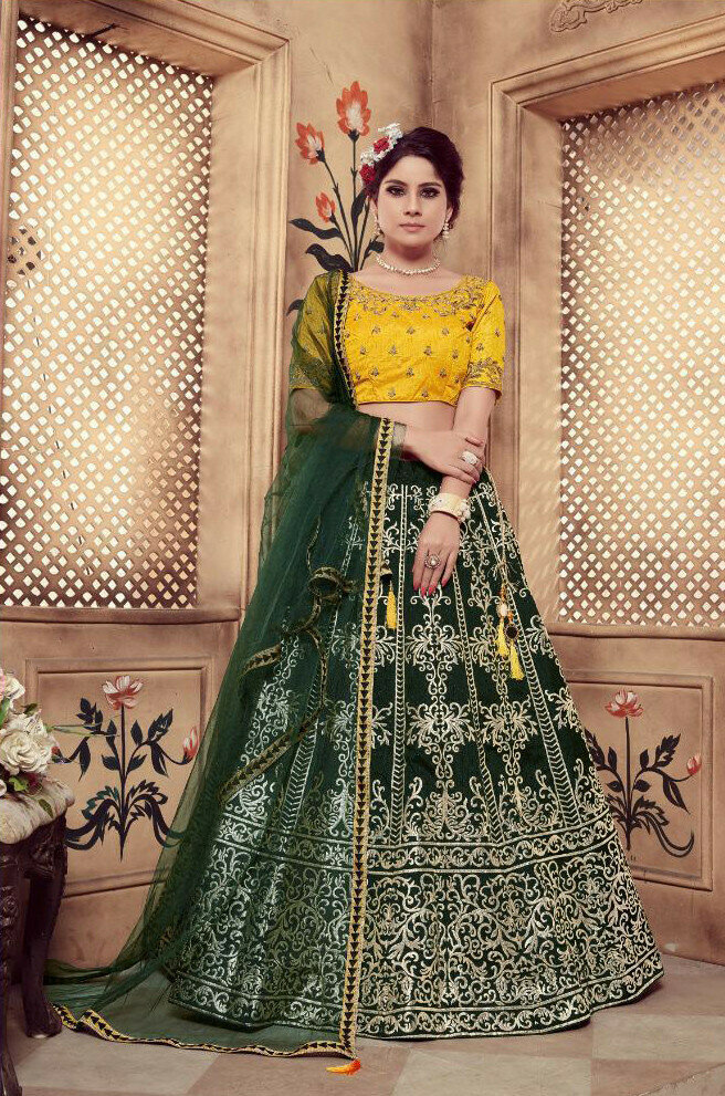 Dark Green Foil Work Heavy Lehenga Choli