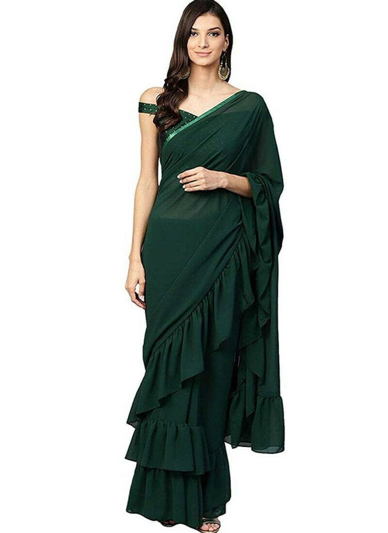 Dark Green Georgette Ruffle Saree With Stone Work