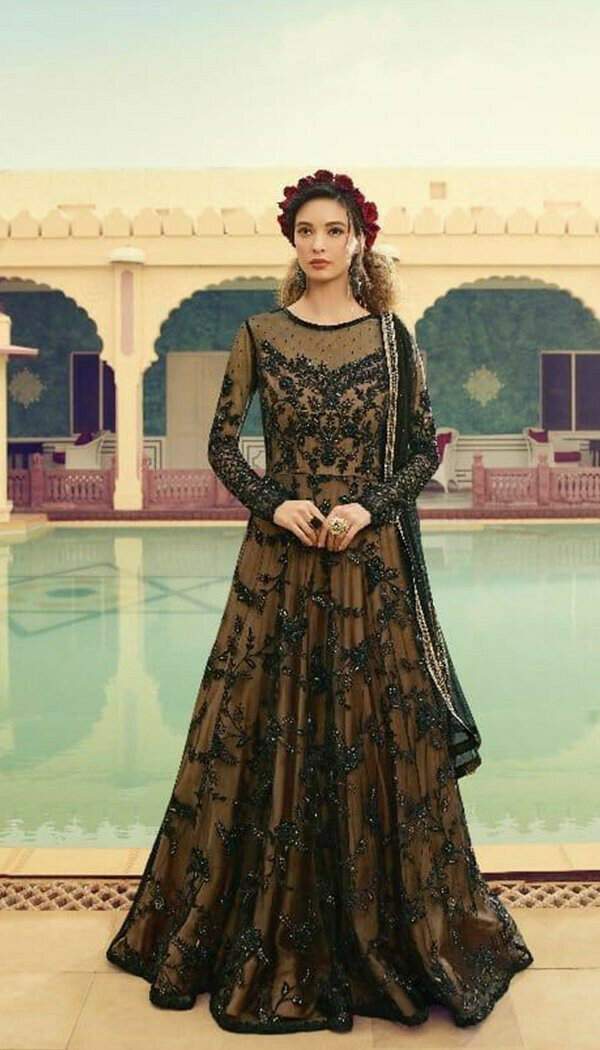 Dark Yellow Colored With Net Embroidary Semi-stitch Gown