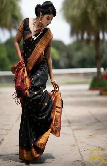 Dashing Black Color Soft Silk Designer Saree