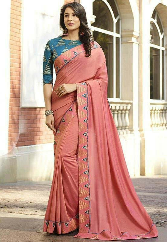 Dazzling Pink Colour Designer Vichitra Silk Saree
