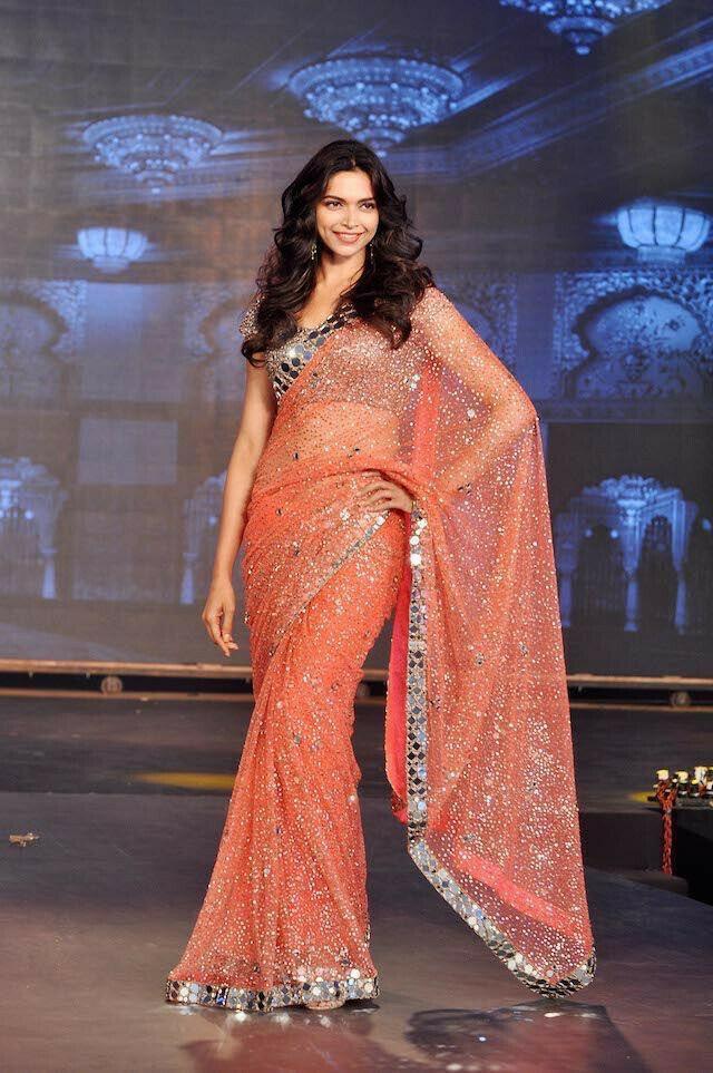 Deepika Padukone Designer Peach Color Mirror Work Sequence Work Bollywood Saree