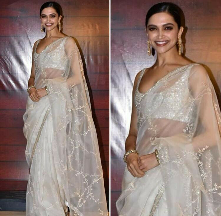 Deepika Padukone Graceful White Colored Party Wear Embroidery Saree