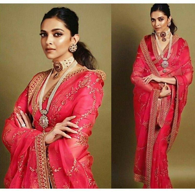Deepika Padukone Pure Georgette Pink Bollywood Designer Saree