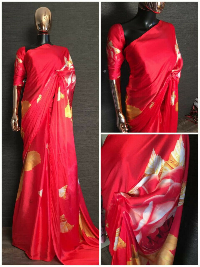 Deepika Red Colored Partywear Japan Silk Floral Printed Saree