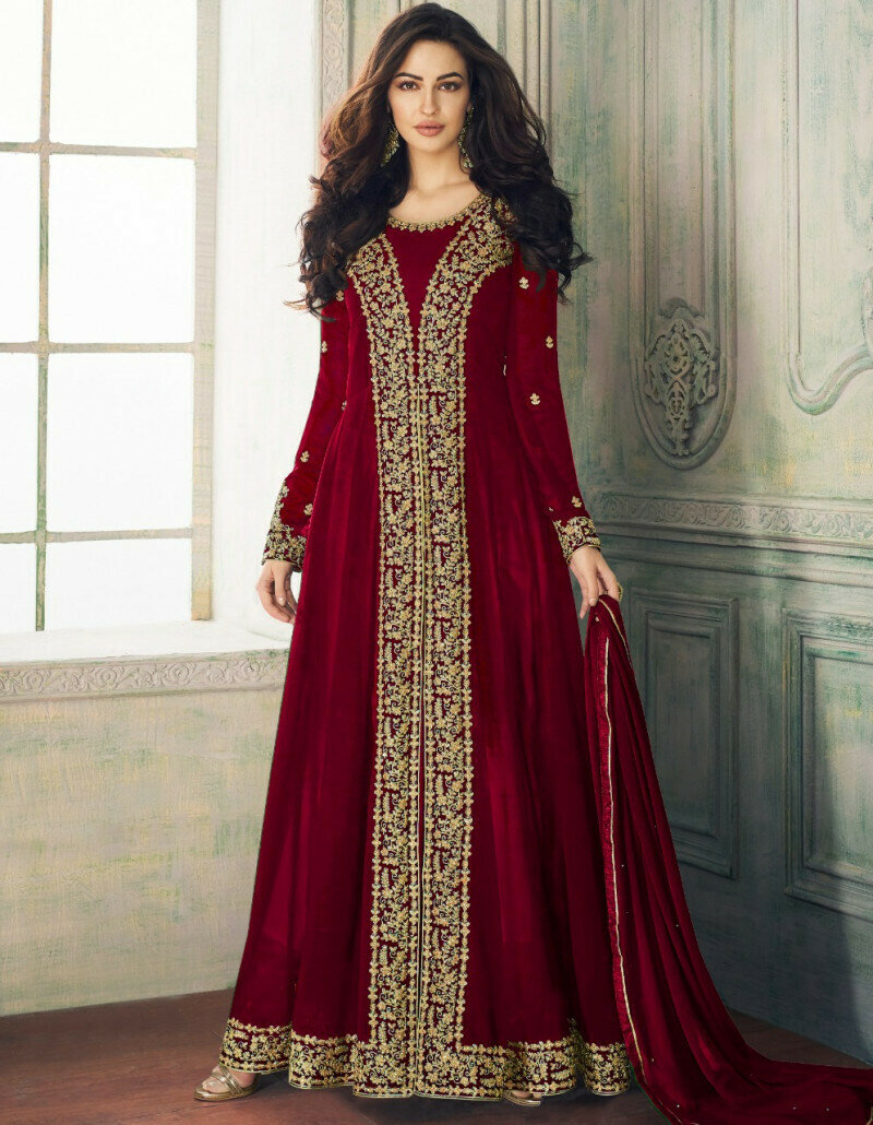 Delightful Maroon Color Faux Georgette  Party Wear  Suit