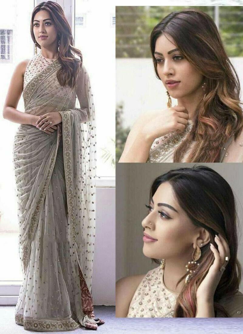 Demanded Grey Butterfly Pallu Fancy Thread Work Net Saree