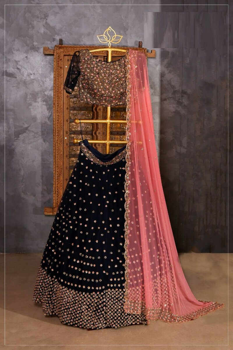 Demanding Black Color Wedding Wear Lehenga Choli