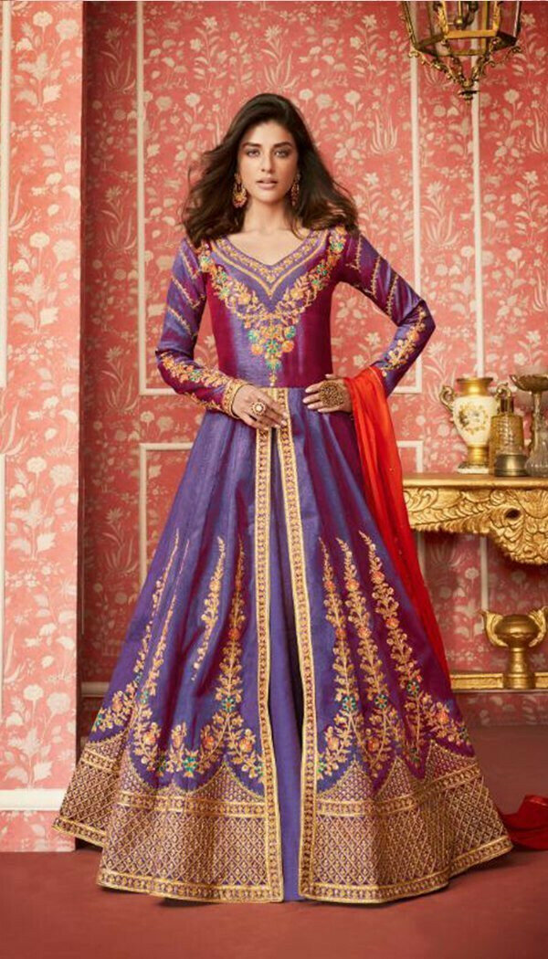 Demanding Blue Colored Embroidary Work Semi-stitch Ethnic Wear Gown