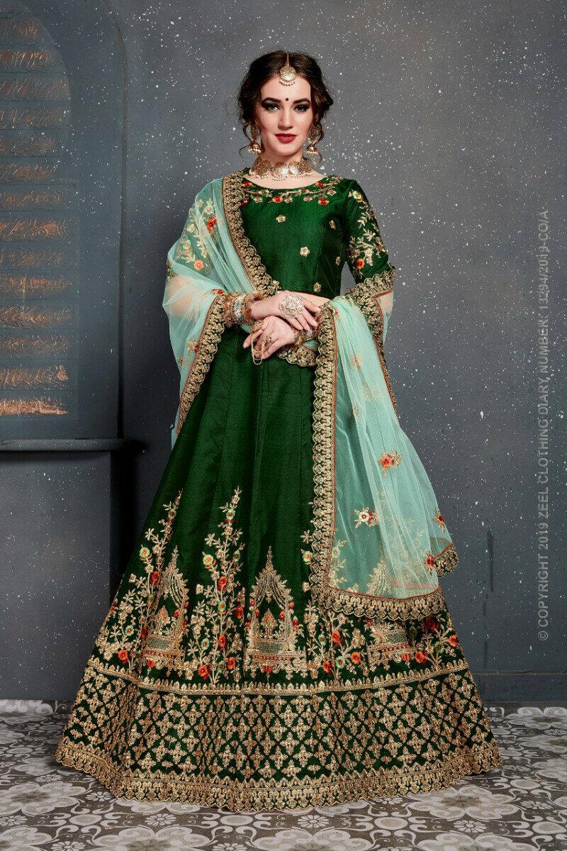 Demanding Bridal Wear Green Lehenga Choli