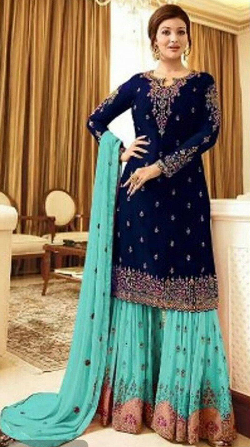 Demanding Navy Blue Color With Embroidery Sharara Suit