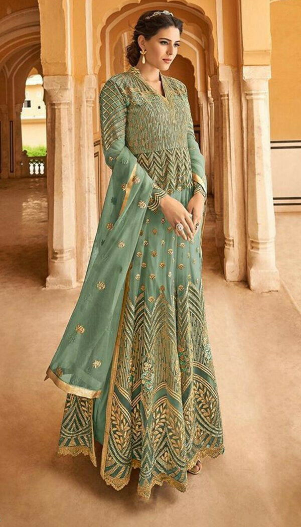 Demanding Pista Colored With Net Embroidary Semi-stitch Gown