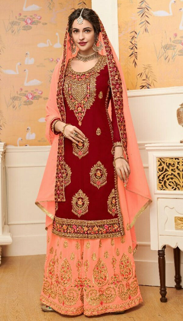 Demanding Red Colored Georgette Embroidary Work Salwar Suit With Palazoo