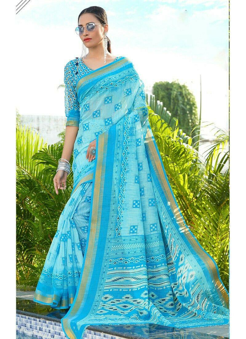 Demanding Sky Blue Color Cotton Saree