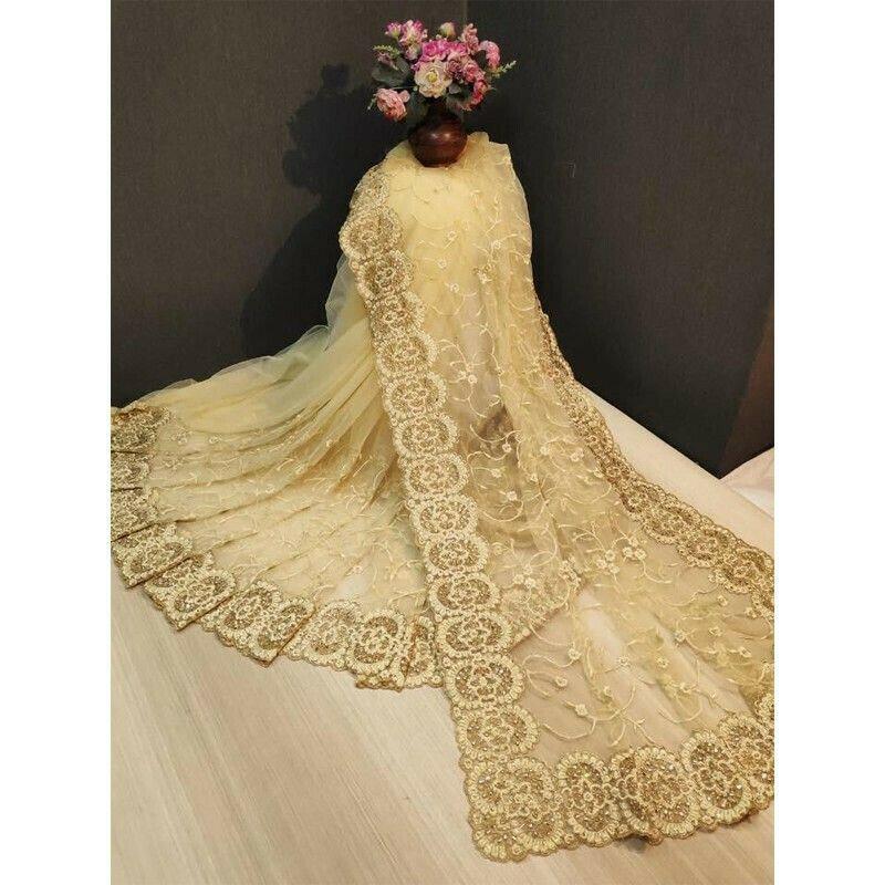 Designer Beautiful Cream Heavy Nylon Net Saree