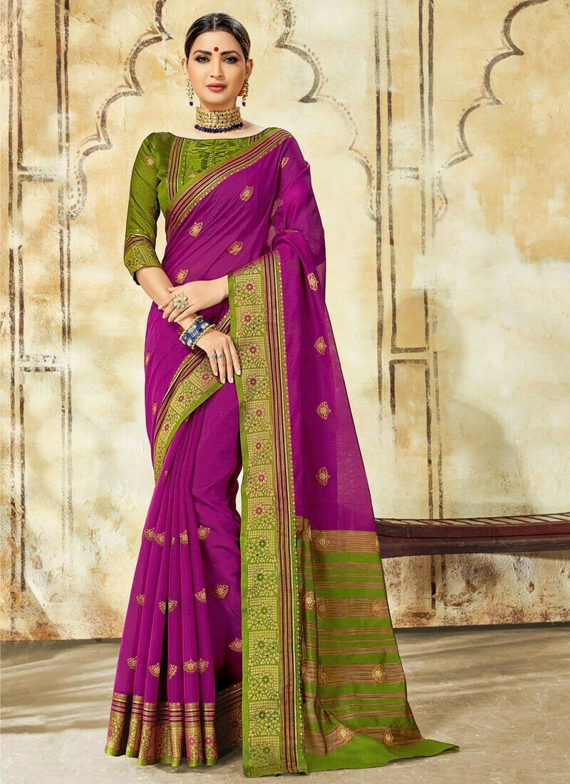 Designer Beautiful Purple Cotton Saree