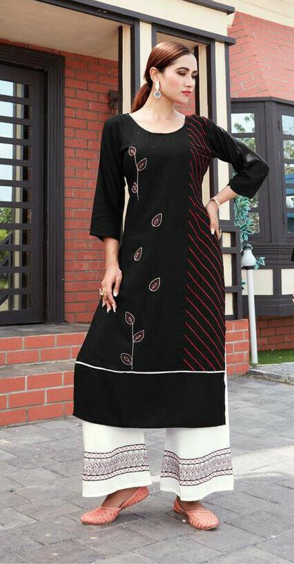 Designer Black Color Rayon Palazzo Suit