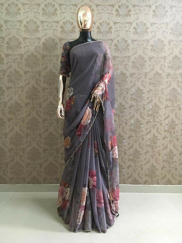 Designer Black Colour Georgette Printed With Pearl Lace Saree