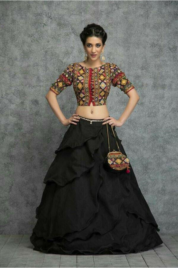 Designer Black Rayon Lehenga Choli