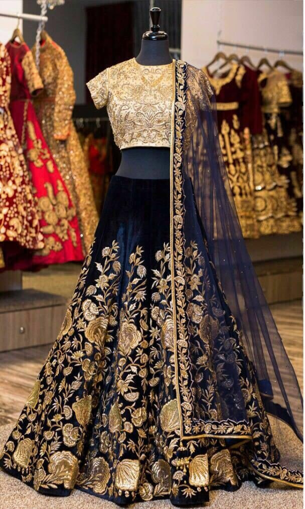 Designer Bollywood Style NAVY BLUE Velvet Embroidery Work Semi-Stitched Lehenga Choli