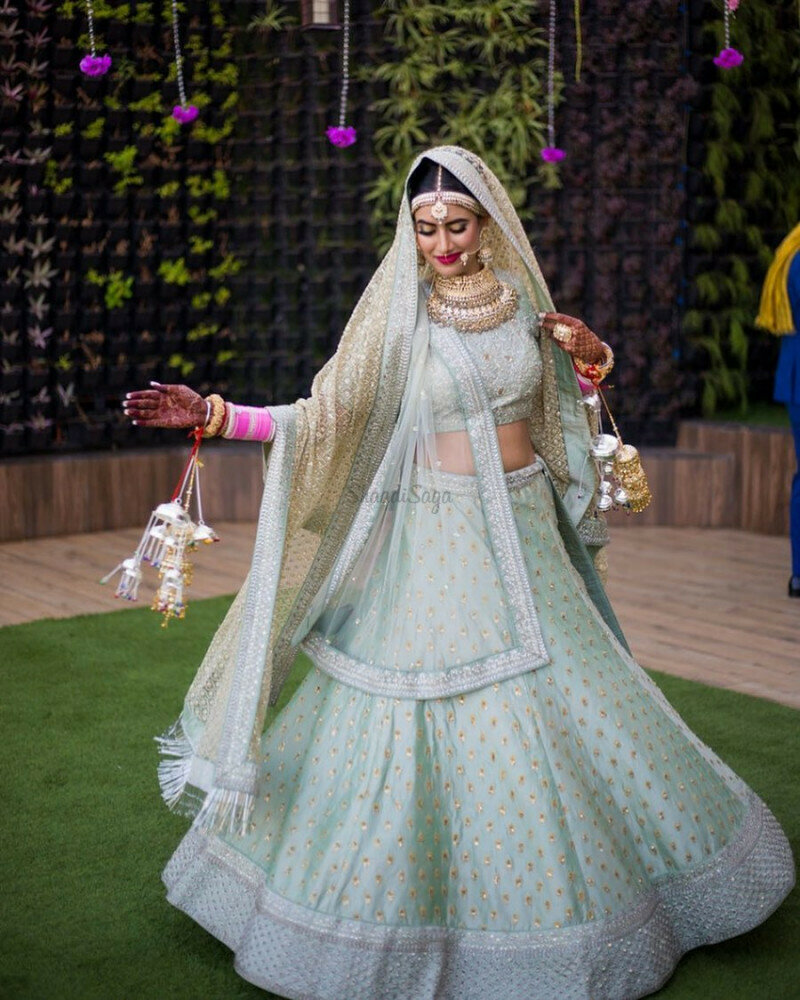 Designer Bridal Wear Sky Lehenga Choli