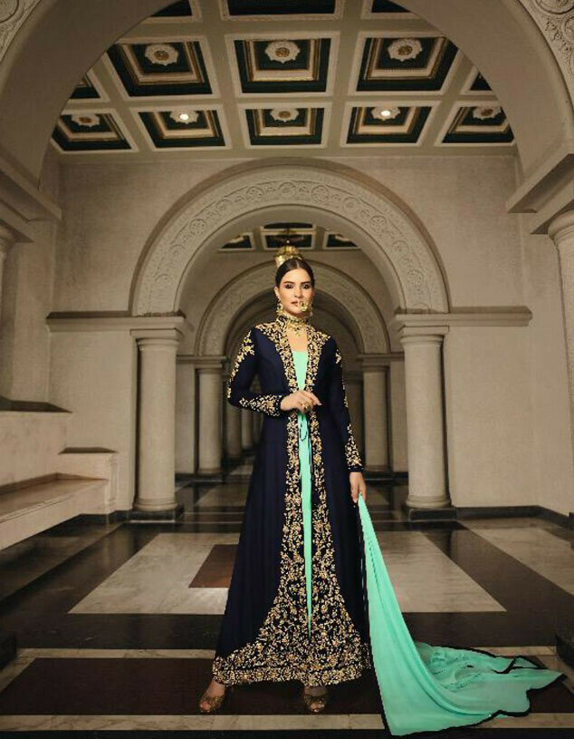 Designer Green Color Heavy Gown